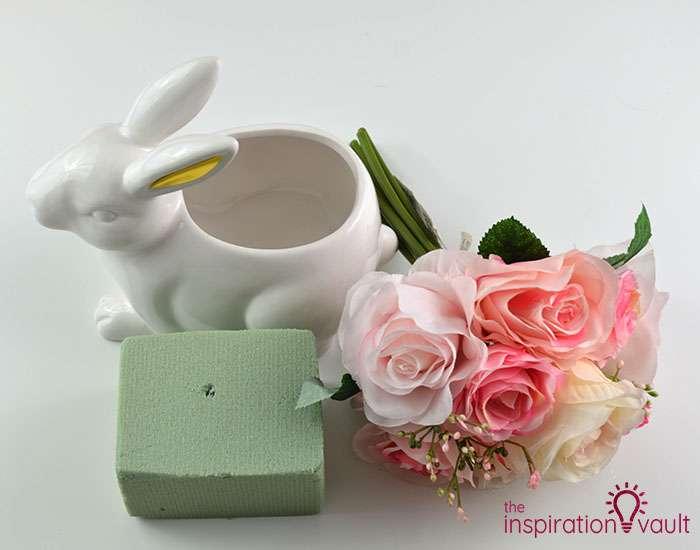 Ceramic Easter Bunny Floral Arrangement Materials