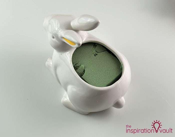 Ceramic Easter Bunny Floral Arrangement Step 1