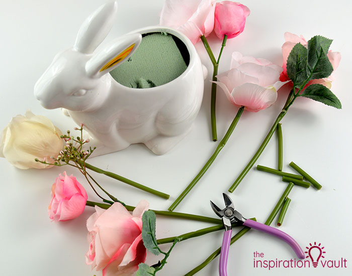 Ceramic Easter Bunny Floral Arrangement Step 2
