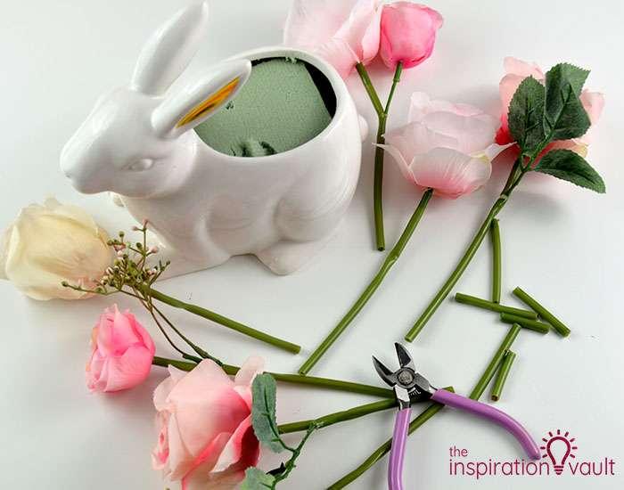 Ceramic Easter Bunny Floral Arrangement Step 2