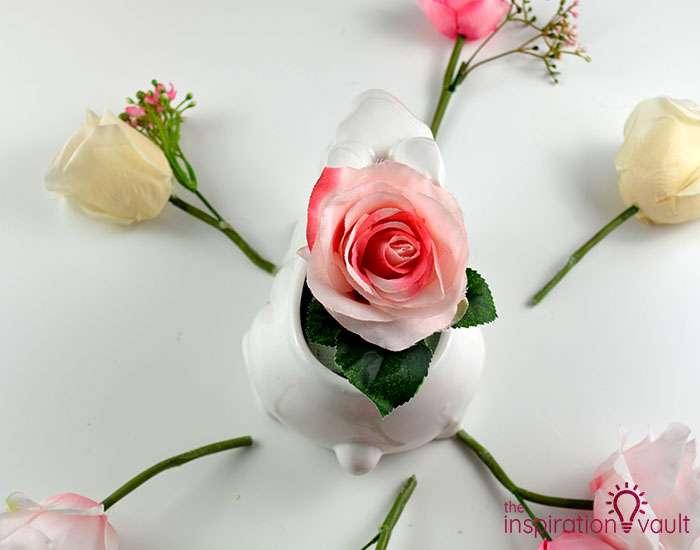 Ceramic Easter Bunny Floral Arrangement Step 3a