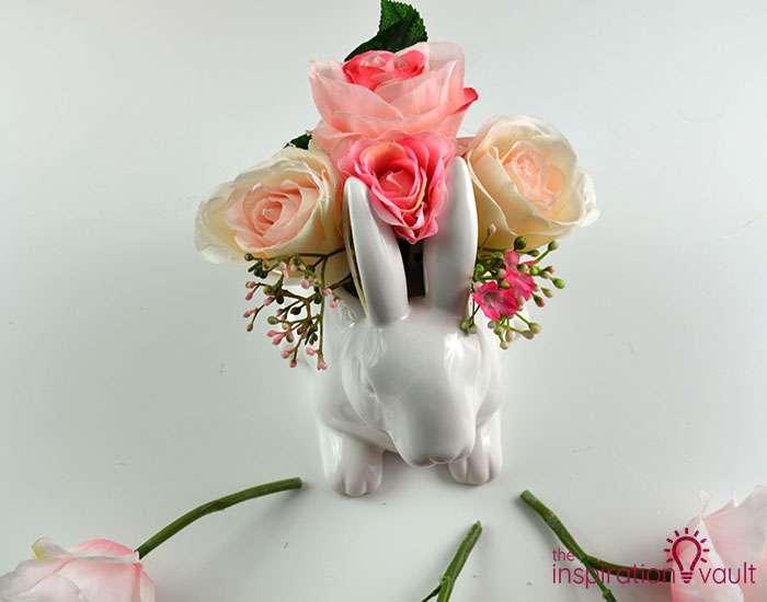 Ceramic Easter Bunny Floral Arrangement Step 3d