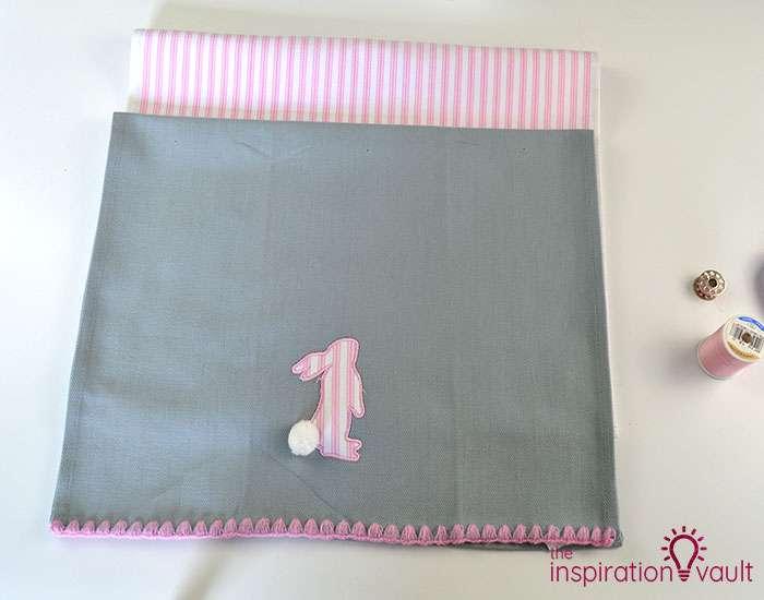Easter Tea Towel Pillows Step 2a