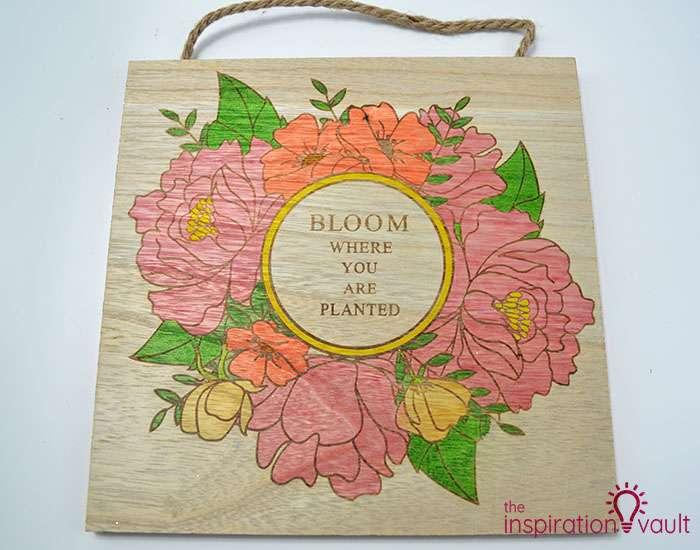 Color a Spring Floral Wood Sign Complete