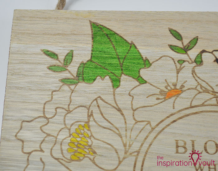 Color a Spring Floral Wood Sign Step 2b