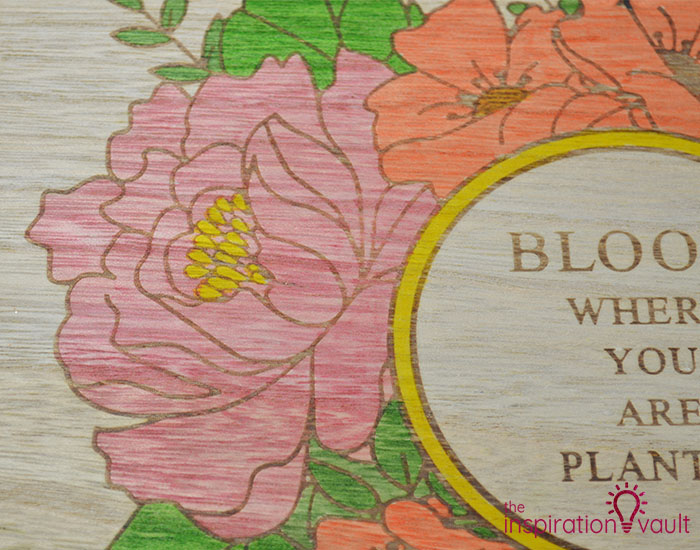 Color a Spring Floral Wood Sign Step 2c