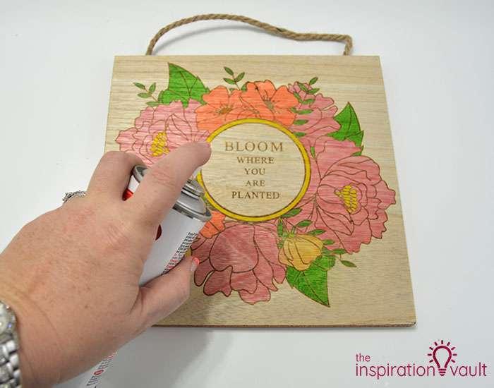 Color a Spring Floral Wood Sign Step 3