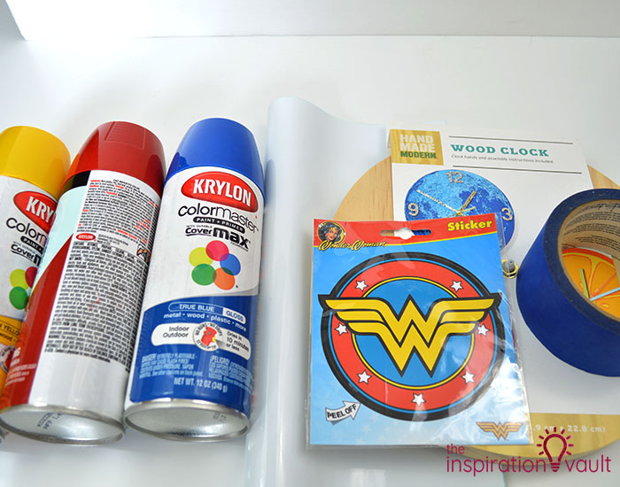 DIY Wonder Woman Superhero Clock Materials
