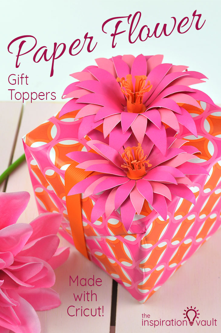 Paper Flower Gift Toppers DIY Cricut Craft Tutorial for Gift Wrap