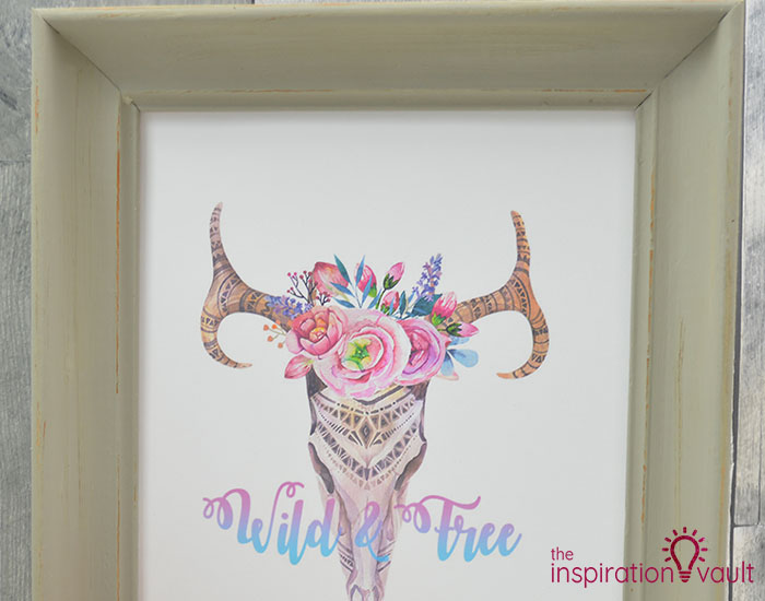 Thrift Store Frame into Boho Art Complete