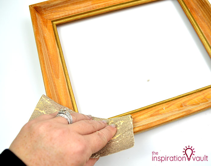 Thrift Store Frame into Boho Art Step 1
