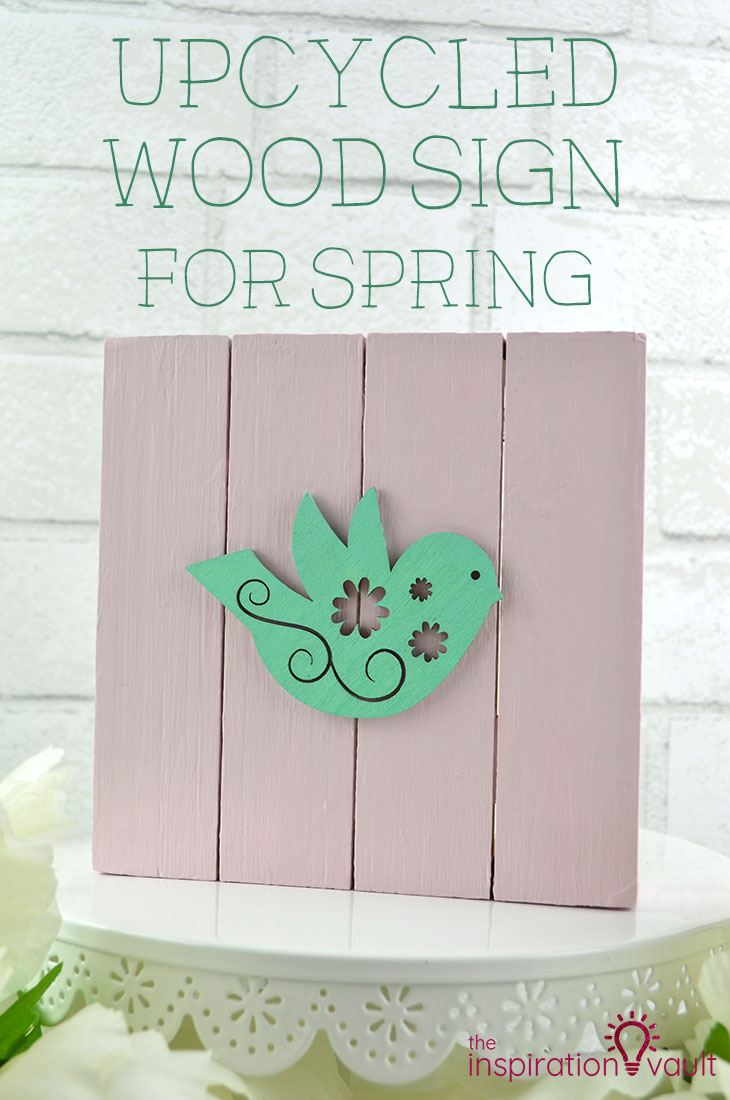 Upcycled Wood Sign for Spring DIY Craft Tutorial #DIY #woodsign #upcycledcraft #upcycle