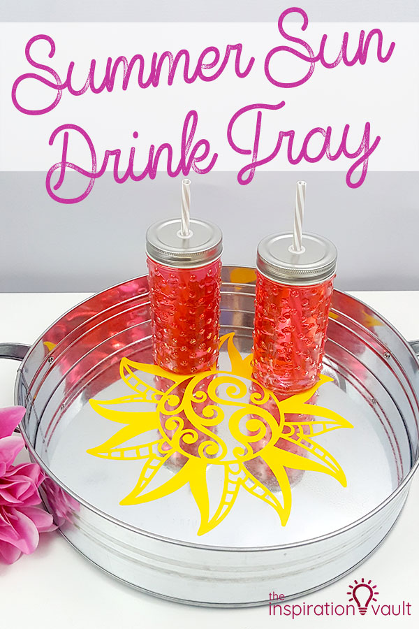 Summer Sun Drink Tray DIY Cricut Craft Tutorial #cricut #sun #drinktray