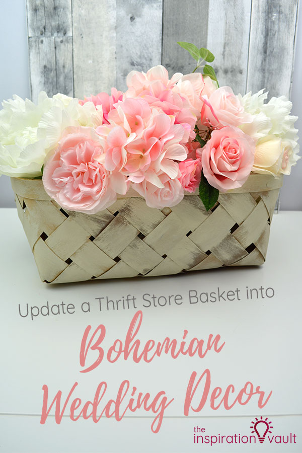 Update a Thrift Store Basket into Bohemian Wedding Decor DIY Upcycle Craft Tutorial #repurposeit #boho #bohemian #weddingcraft #diywedding