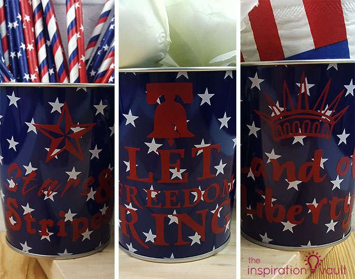 Customized Patriotic Metal Pails Complete 2