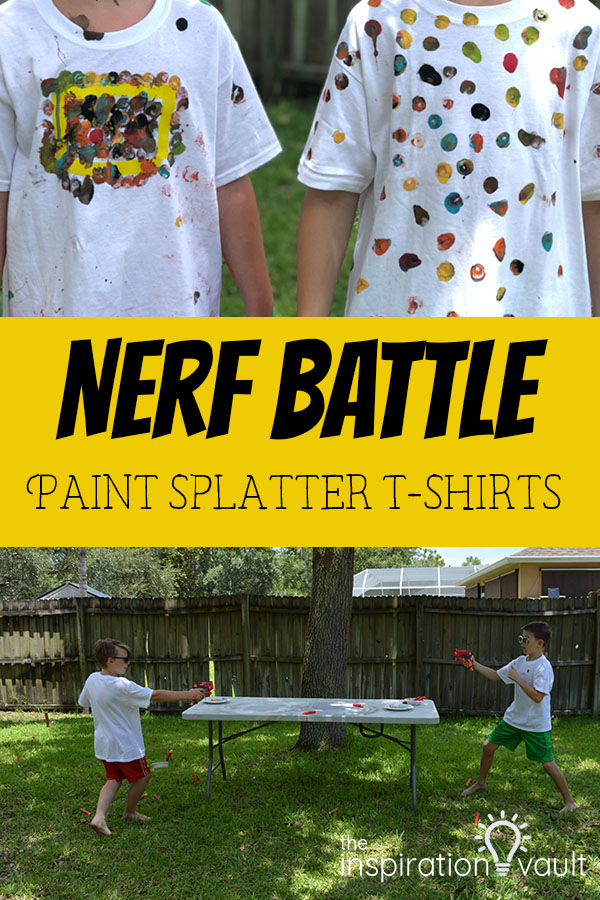 Nerf Battle Paint Splatter T-Shirts Kids Summer Fun Activity and Craft