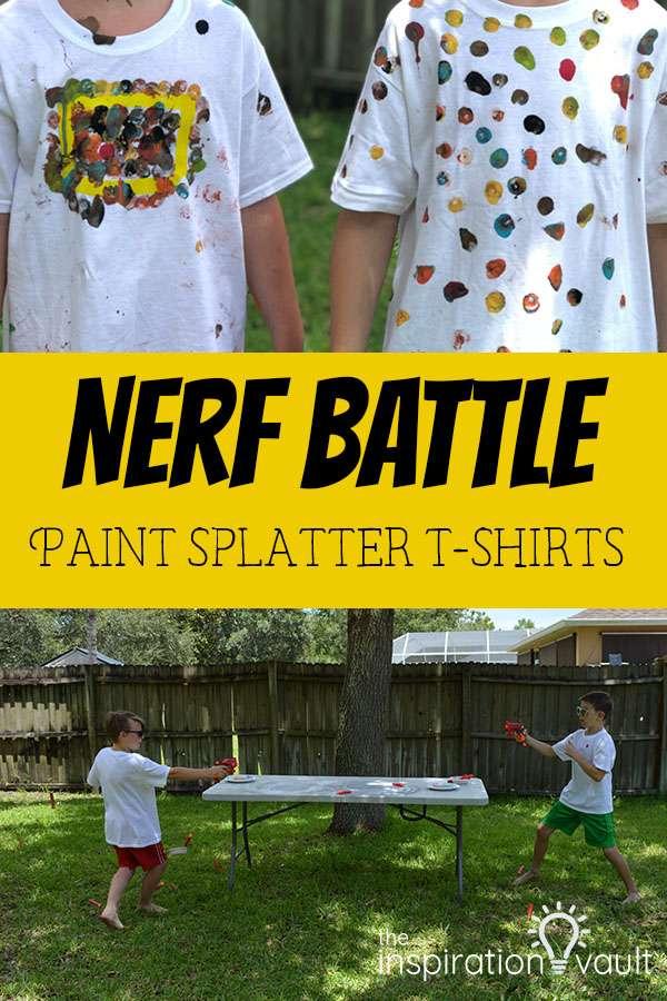 Nerf Battle Paint Splatter T-Shirts Kids Summer Fun Activity and Craft