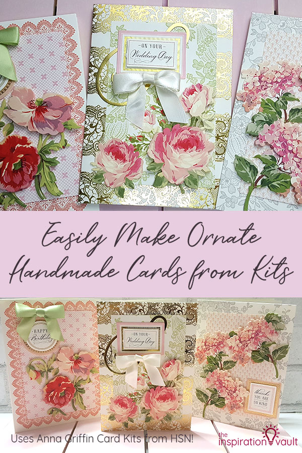 Ornate Handmade Cards from Kits using Anna Griffin's Watercolor Floral Decoupage 3D Card Kits #handmadecards #papercrafts #cardkits #annagriffin #hsncrafts