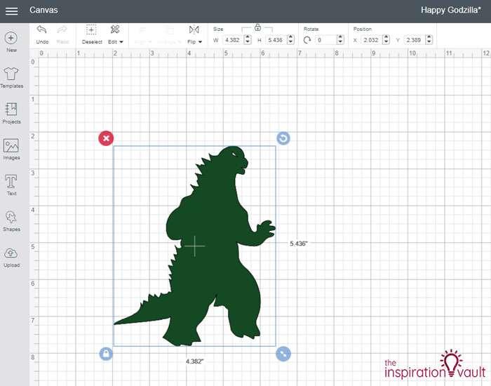 Happy Godzilla T-shirt Step 1b