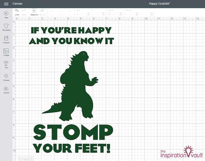 Happy Godzilla T-shirt Step 2b