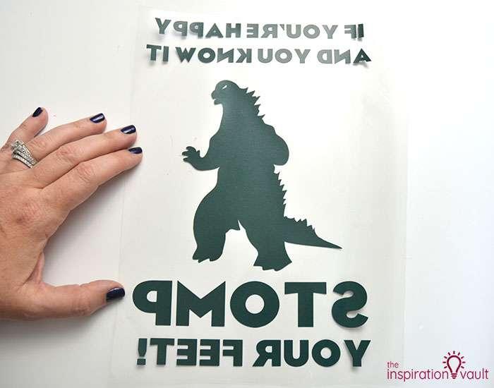Happy Godzilla T-shirt Step 6