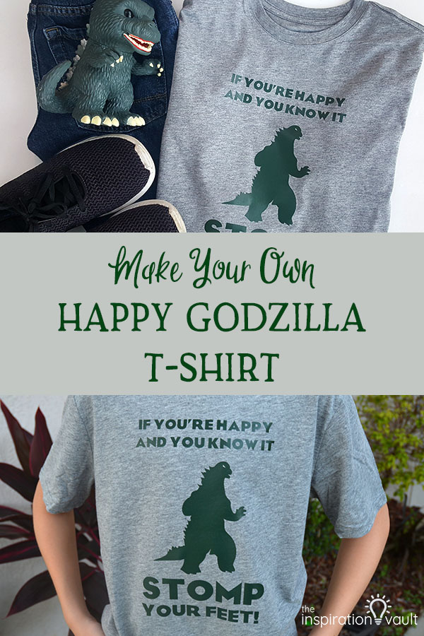 Learn How to Make Your Own Happy Godzilla T-shirt with Your Cricut and our craft tutorial #cricut #godzilla #godzillatshirt #cricuthtv