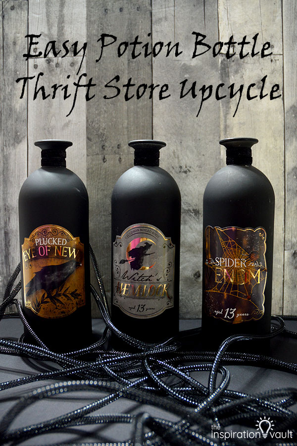 Potion Bottle Thrift Store Upcycle DIY Halloween Craft Tutorial