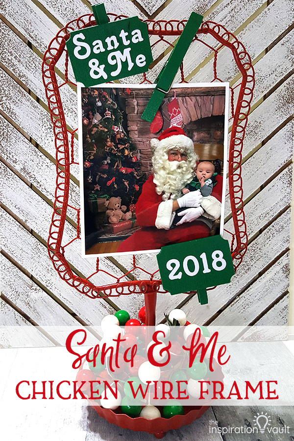 Santa & Me Chicken Wire Frame DIY Christmas Craft Tutorial
