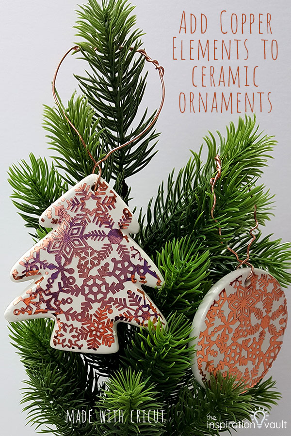 Add Copper Accents to Ceramic Ornaments DIY Cricut Craft Tutorial Using Adhesive Foil