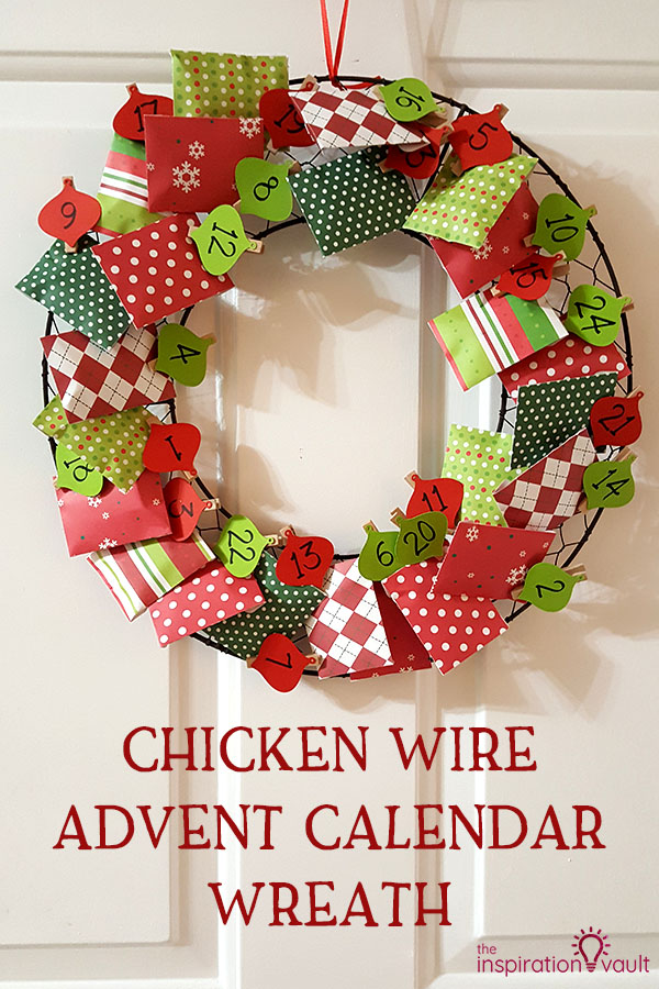 Chicken Wire Advent Calendar Wreath DIY Cricut Craft Tutorial