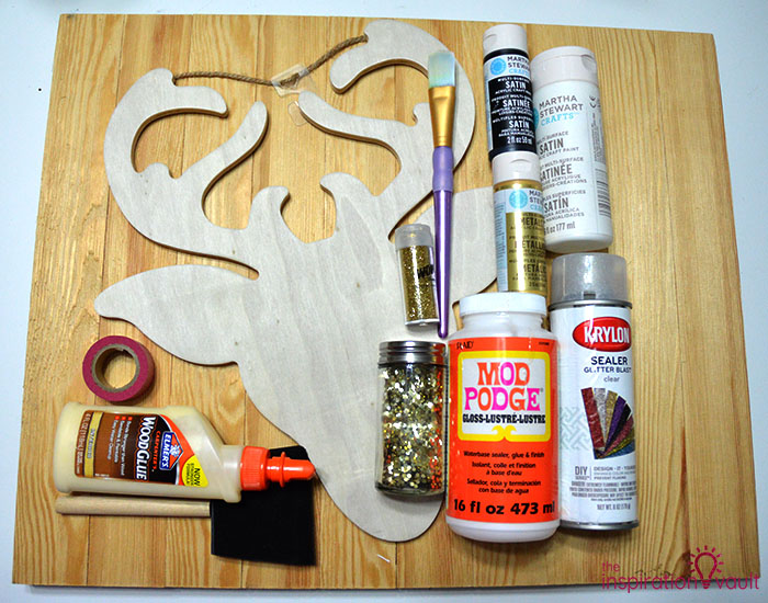DIY Glittered Deer Head Wood Sign Materials