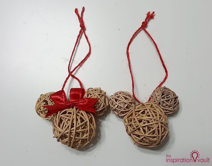 Dollar Tree Rustic Mickey Ears Ornament Complete