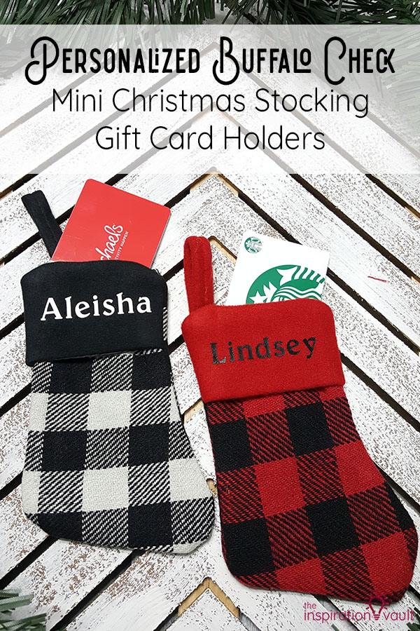Personalized Buffalo Check Mini Christmas Stocking Gift Card Holders DIY Craft Tutorial
