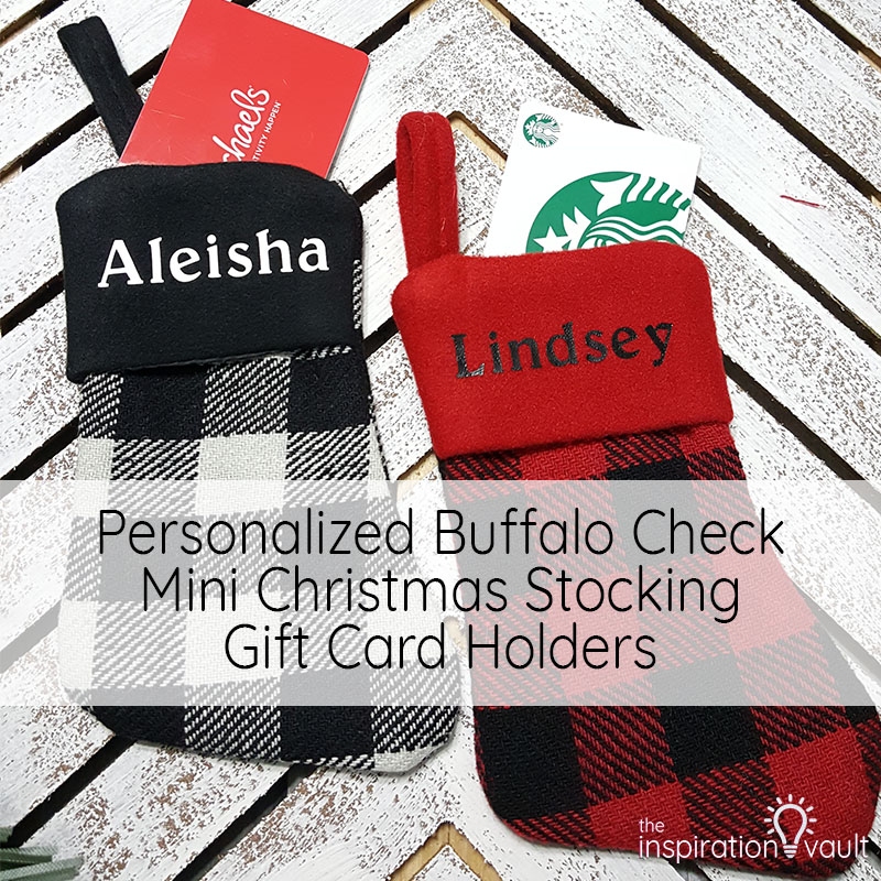 Personalized Buffalo Check Mini Christmas Stocking Gift Card Holders Feature