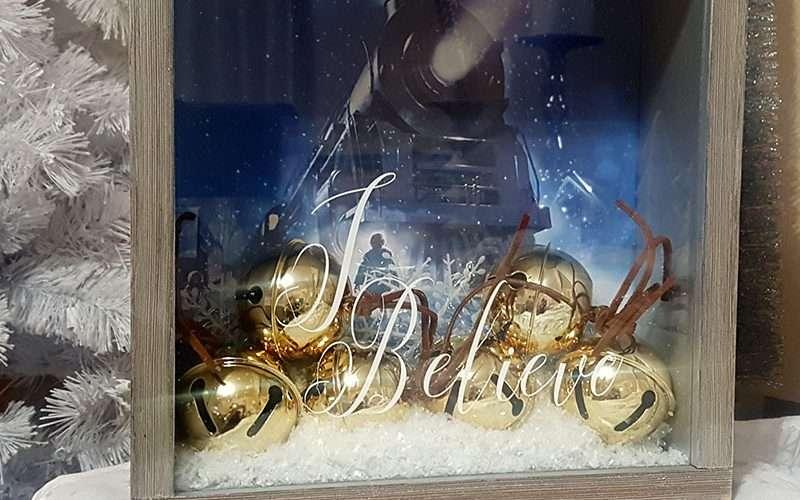Polar Express Sleigh Bells Shadow Box Feature