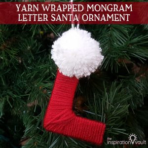 Yarn Wrapped Monogram Letter Santa Ornament Feature