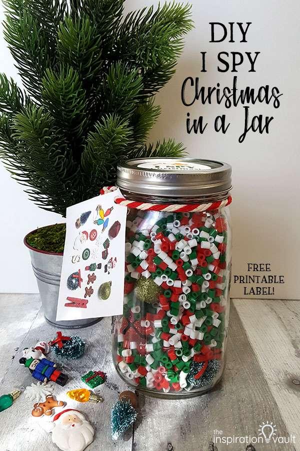 DIY I Spy Christmas in a Jar Craft Tutorial Using Perler Beads and Mason Jars