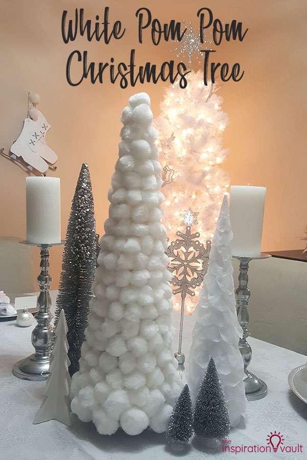 White Pom Pom Christmas Tree DIY Craft Tutorial