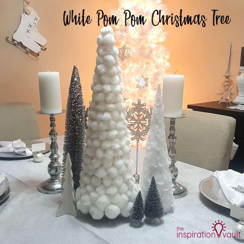 White Pom Pom Christmas Tree Feature