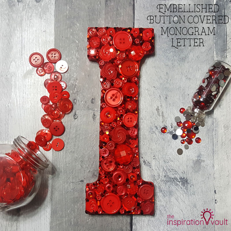 Embellished Button Covered Monogram Letter Feature
