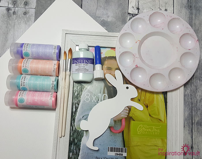 Watercolor Resist Bunny Painting Materials