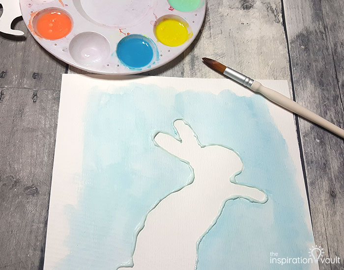 Watercolor Resist Bunny Painting Step 4c