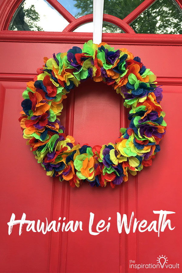 Hawaiian Lei Wreath DIY Craft Tutorial using lei flowers