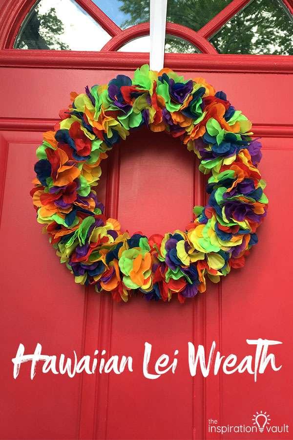 Hawaiian Lei Wreath DIY Craft Tutorial using lei flowers