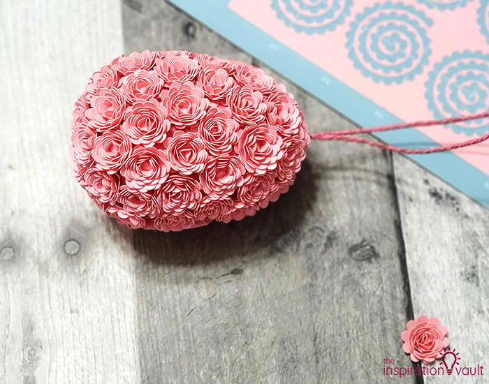 Paper Flower Covered Egg Ornament Complete