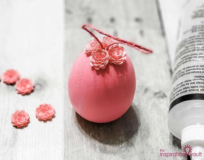 Paper Flower Covered Egg Ornament Step 5c