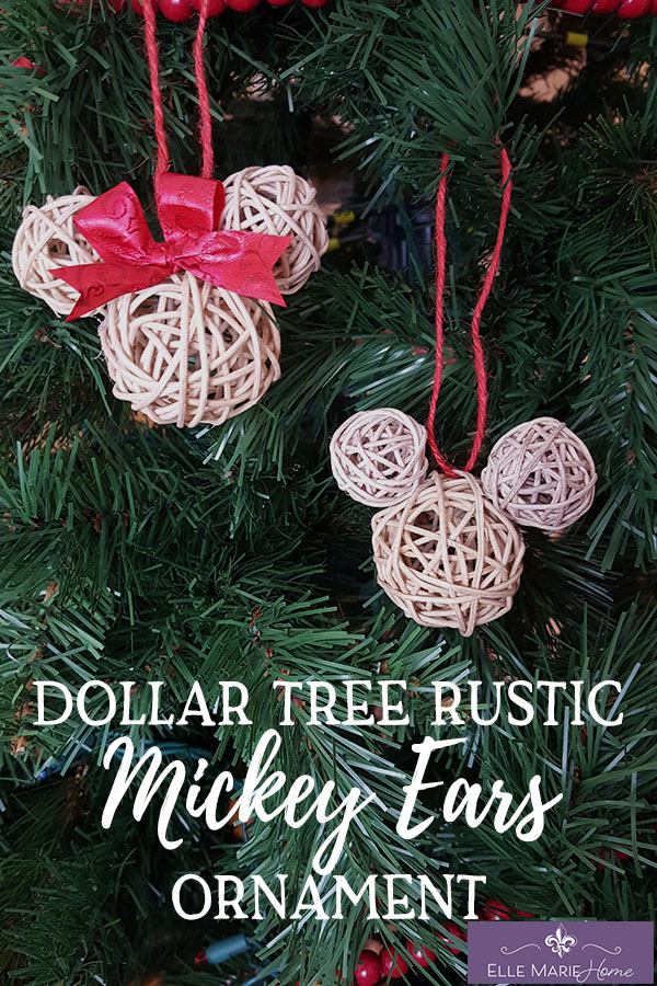Dollar Tree Rustic Mickey Ears Ornament DIY Disney Craft Tutorial EMH