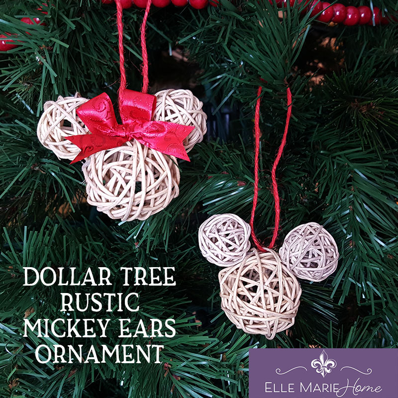Dollar Tree Rustic Mickey Ears Ornament Feature EMH