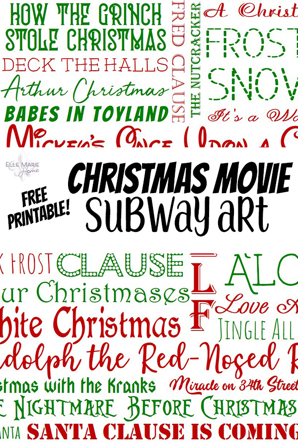 Christmas Movie Subway Art Free Printable Wall Decor