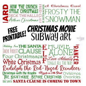 Christmas Movie Subway Art Printable Feature